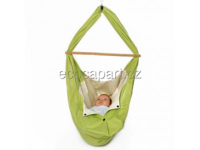Babyvak Hacka Plus - závěsná textilní kolébka - zelená