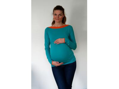 Mama Rosa Těhotenské triko s lodičkovým výstřihem - tyrkys+oranž (dlouhý rukáv)