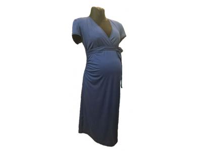 Mama Rosa Těhotenské šaty LALITA, krátký rukáv - Jeans Blue