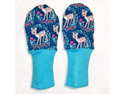 Mama Rosa Kojenecké rukavičky bez palce MERINO - Srnečky