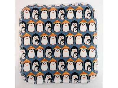 Mama Rosa Mycí ubrousek z BIO bavlny 20x20 cm - Tučňáci modří