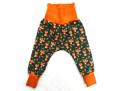 Mama Rosa Dětské kalhoty z BIO bavlny - Lišky v listí