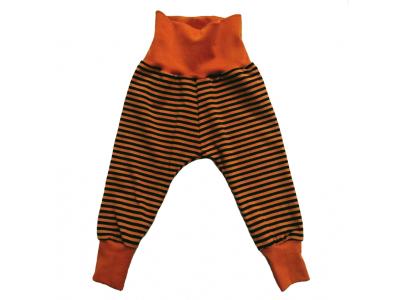Mama Rosa Dětské kalhoty z BIO bavlny - Skořicové a zelené pruhy