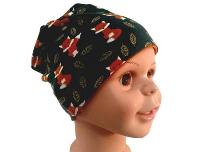 Mama Rosa Dětská čepice dvojitá z BIO bavlny - Lišky v listí