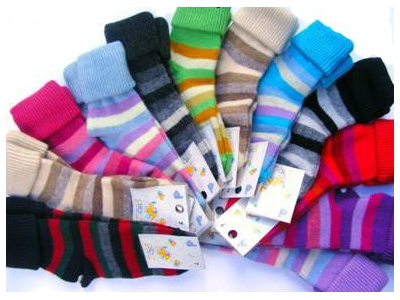Diba Vlněné dětské ponožky pruhované - vel. 7 (3-4 roky)