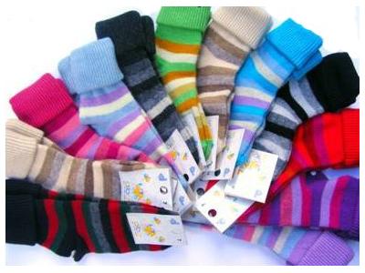 Diba Vlněné dětské ponožky pruhované - vel. 9 (4-5 roků)