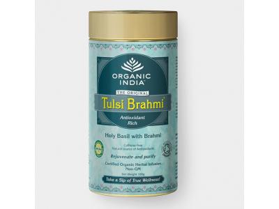 Tulsi Brahmi BIO - ajurvédský čaj, plechová dóza 100g