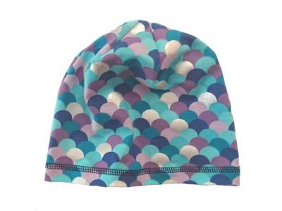 Eco Capart Dětská jarní čepice z bavlny - modrofialové šupinky