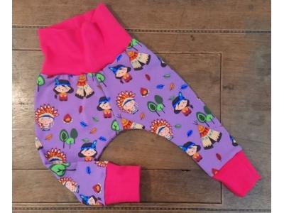 Eco Capart Dětské kalhoty - Indian Village, růžové lemy