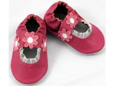 Funkee Feet Kožené dětské capáčky  - růžové sandálky