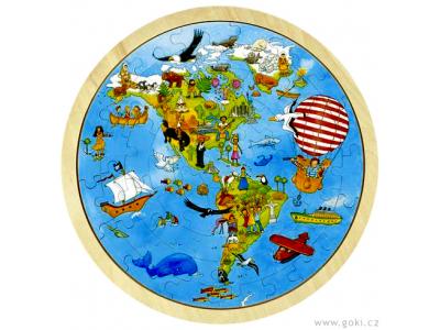Goki Oboustranné puzzle – Cesta kolem světa, 56 dílů