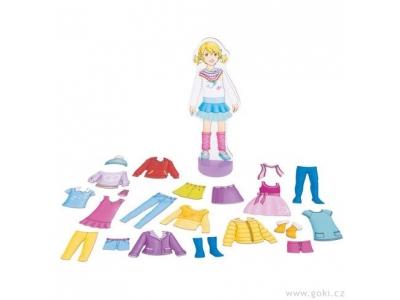 Goki Oblékací panenka – magnetická šatní skříň