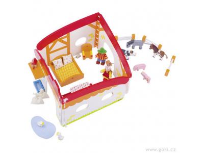 Goki Farma – flexibilní domeček pro panenky s vybavením, 35 dílů