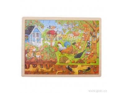 Goki Dřevěné puzzle Naše zahrádka na zemi i pod zemí, 96 dílů