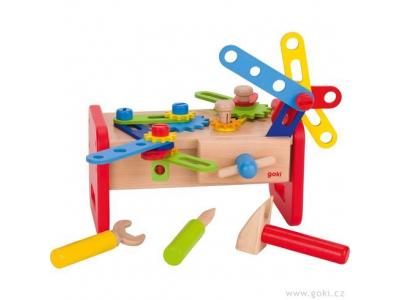Goki Dřevěný stolek - ponk pro děti, 36 dílů