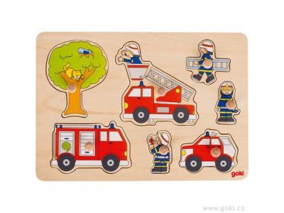Goki Puzzle s dřevěnými úchytkami – hasiči, 7 dílů