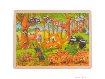 Goki Zvířecí děti v lese – dřevěné puzzle, 48 dílů