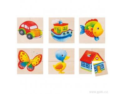 Goki Puzzle a paměťová hra rybka, kačenka 24 díly