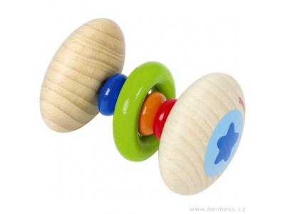 Heimess Dřevěné kousátko a chrastítko s kroužkem