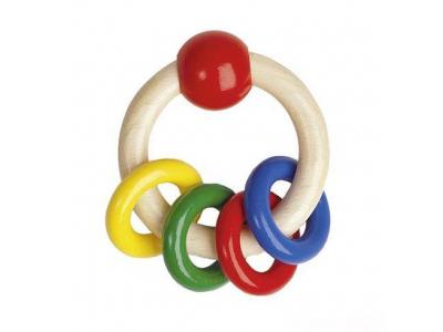 Heimess Dřevěná hračka pro miminka Kroužek s kroužky