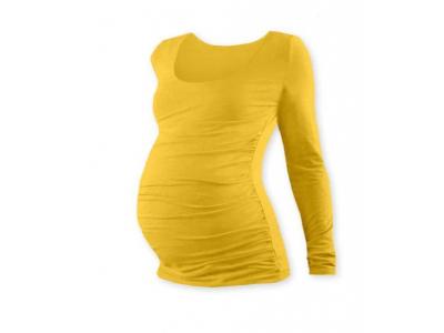 Jožánek Těhotenské tričko, kulatý výstřih (dlouhý rukáv) - žluté, L/XL