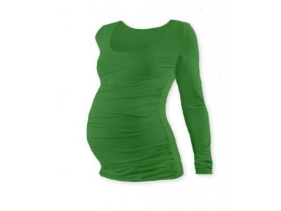 Jožánek Těhotenské tričko, kulatý výstřih (dlouhý rukáv) - zelené, S/M
