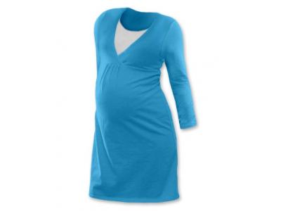 Jožánek Těhotenská a kojící noční košile (dlouhý rukáv) - tyrkysová