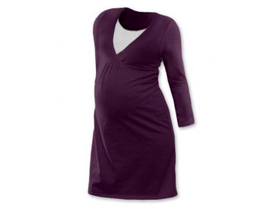 Jožánek Těhotenská a kojící noční košile (dlouhý rukáv) - švestková