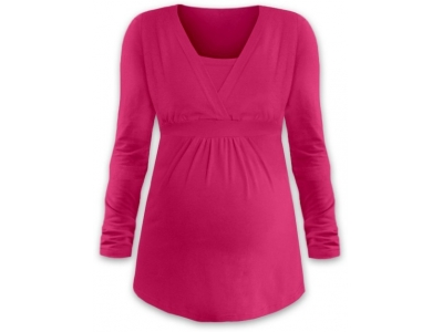 Jožánek Kojící a těhotenská tunika ANIČKA (dlouhý rukáv) - sytě růžová