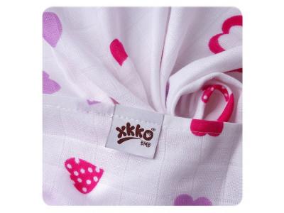 KIKKO Bambusová osuška XKKO®BMB Lilac Hearts 90x100cm -1ks