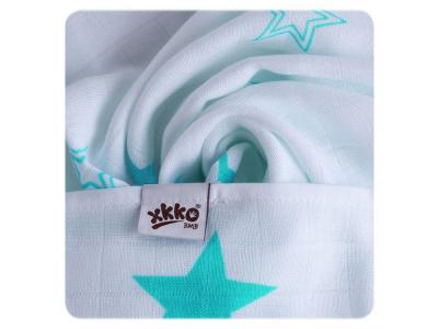 KIKKO Bambusová osuška XKKO®BMB Turquoise Stars 90x100cm - 1ks