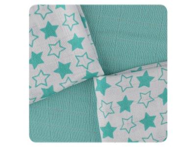 KIKKO Bambusové ubrousky Little Stars Turquoise MIX 30x30cm 9ks
