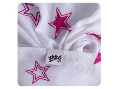 KIKKO Bambusová osuška / tetra plena 90x100cm - magenta stars