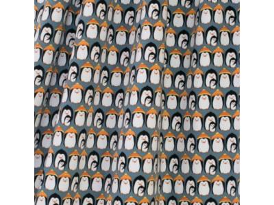 Úplet French Terry z BIO bavlny - tučňáci modří