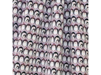 Úplet French Terry z BIO bavlny - tučňáci lila