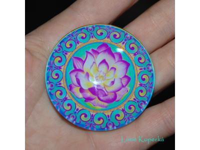 Magnet kulatý - Rozkvétající lotos