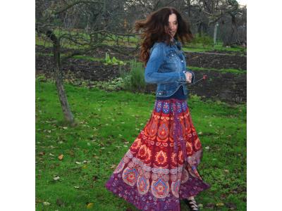 Mandalová boho sukně - vínová