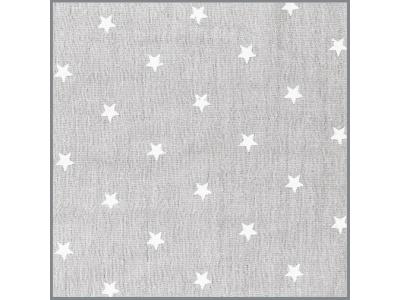 Mušelín z bavlny - hvězdičky šedé