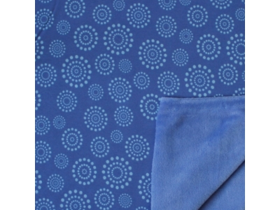 Alpský fleece květy z puntíků Daisy - modrý