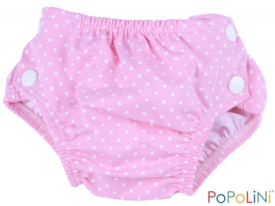 Popoliny Plenkové plavky - růžové s puntíkem