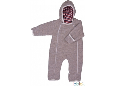 IoBio Vlněná baby kombinéza s kapucí - šedá