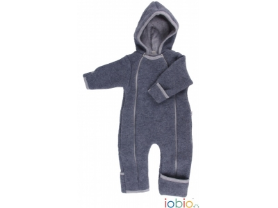 IoBio Vlněná baby kombinéza s kapucí - Anthracit