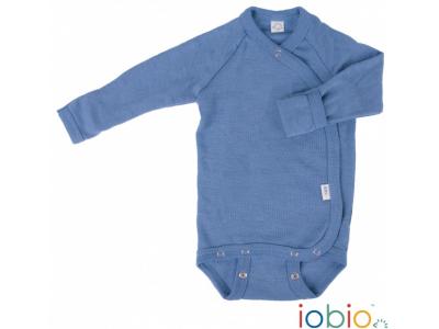 Iobio zavinovací kojenecké body 100% vlna, dlouhý rukáv - modré