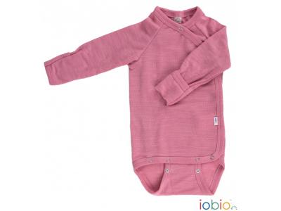 Iobio zavinovací kojenecké body 100% vlna, dlouhý rukáv - růžové