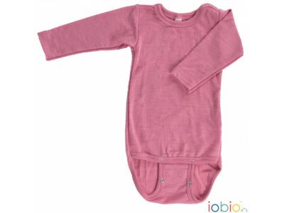 Iobio kojenecké body 100% vlna, dlouhý rukáv - růžové