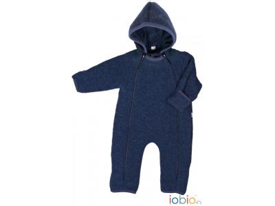 IoBio Vlněná baby kombinéza s kapucí - modrá
